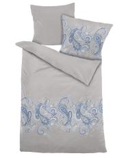 Dekomiro Dormisette Bettwäsche Mako Satin Ornament Blau 135 X 200
